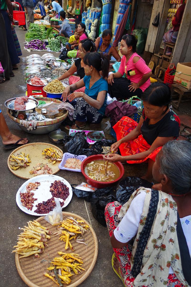 Yangoon street market Myanmar