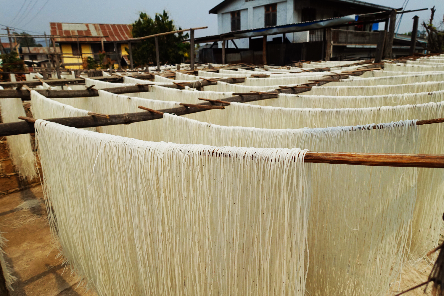Hsipaw noodles hanging Myanmar